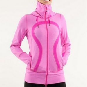 Lululemon Stride Jacket Zip Up Hood Pink & White